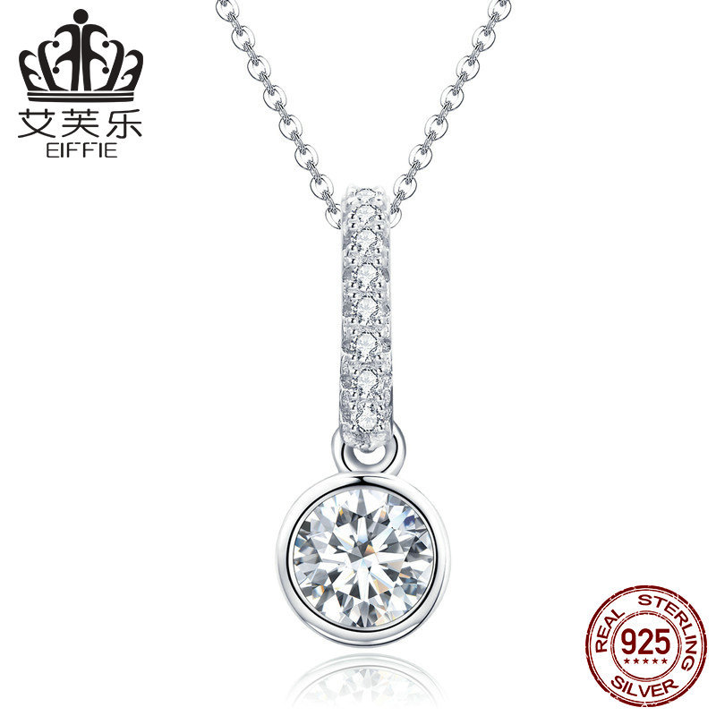 S925 is popular in Europe and the United States. New type of white stone round inlaid Pendant Necklace y scn295