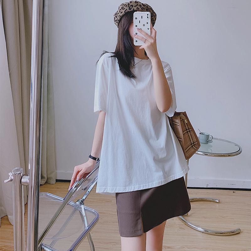 CNRT宽松纯棉白色短袖t恤女ins超火夏季上衣2021年新款半袖打底衫