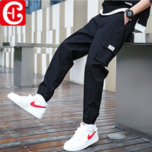 Spring / summer 2020 ins overalls men's fashion brand corset loose large casual French functional pants for men