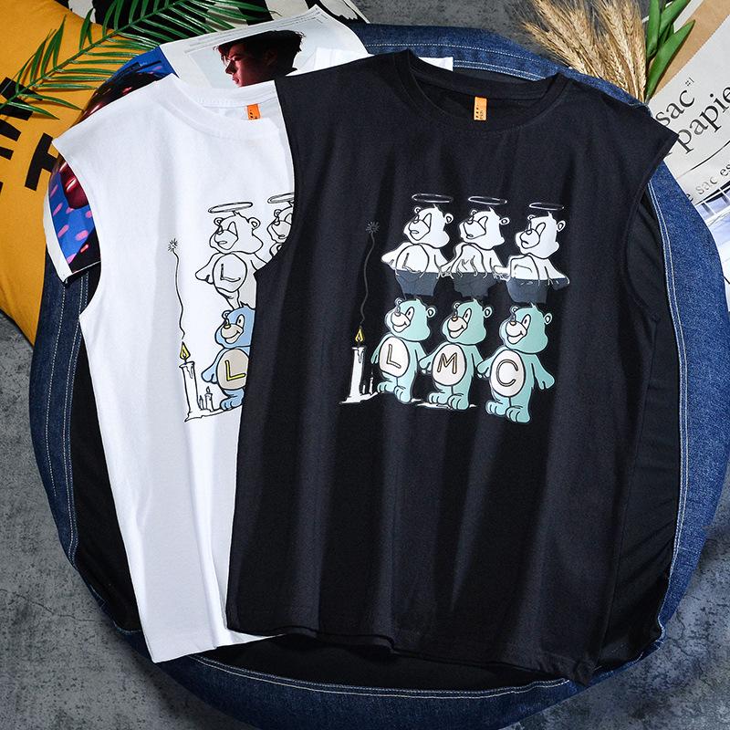 韩版小熊9定制印花T恤学生情侣坎肩嘻哈背心运动外穿街舞上衣男女