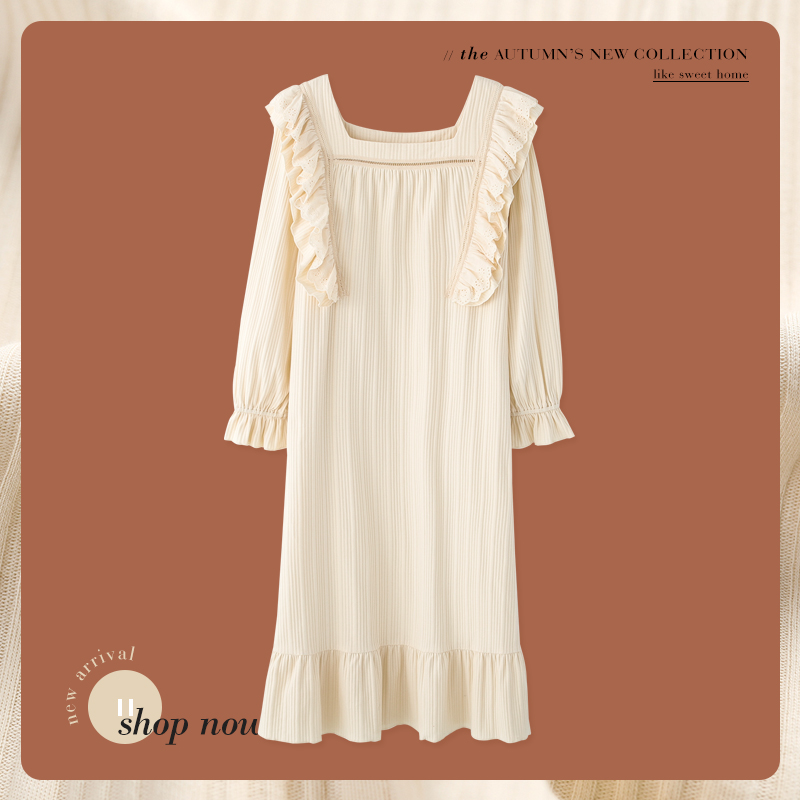 Pajamas, nightdresses, womens autumn and winter long style 2021 new spring and autumn pure cotton long sleeve palace Princess wind fairy is very immortal