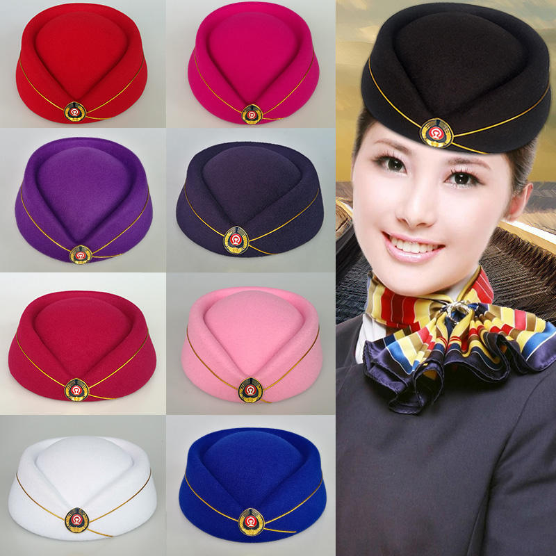 Chinese school student performance hat high speed rail EMU conductor Hat Red railway girl hat etiquette hat iron