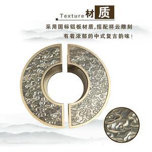 新中式拉手门把手防撞圆形仿古铜定制半圆木门玻璃门大门祥云玻璃
