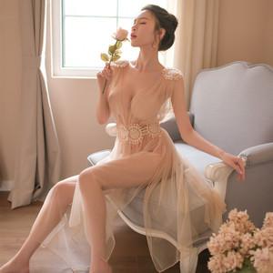 性感情趣内衣小胸大女蕾丝睡衣夫妻长裙薄纱透视长裙诱惑激情套装