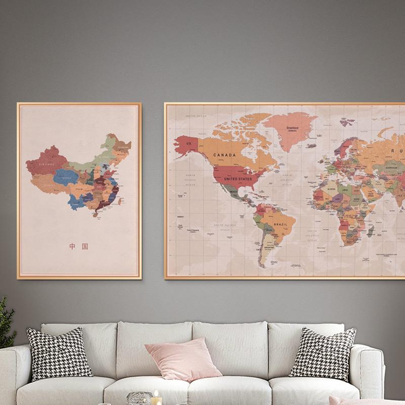 世界地图西墙办公室雪花客厅装饰画