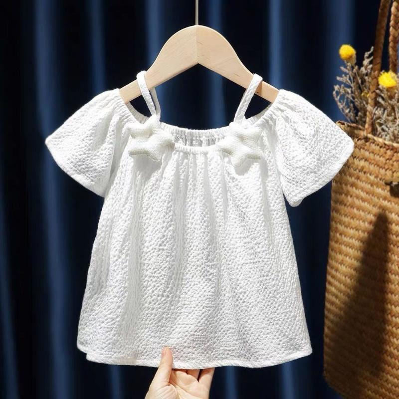 2021年新款女童装露肩吊带女宝宝雪纺短袖T恤婴幼童洋气衬衫上衣