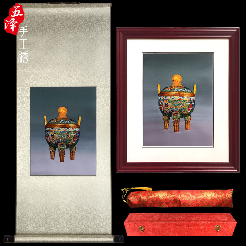Hand embroidered small painting scroll ancient painting Suzhou special gift business gift custom creative hanging painting tourist souvenir