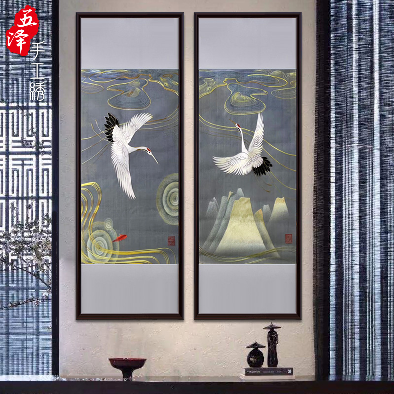 Simple new Chinese mural, hand embroidery, single side embroidery, finished porch painting combination, crane drawing scroll, soft mounting