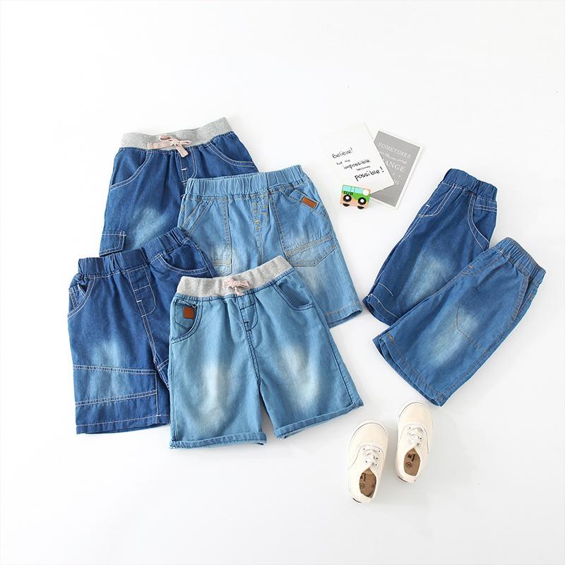 Shell family denim shorts 2021 summer new boys wear childrens elastic waist pants