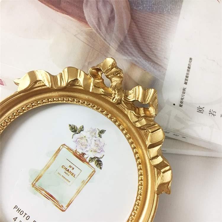 女生相框家居欧式美式乡村ins金色蝴蝶结4寸圆形摆台壁挂装饰摆件