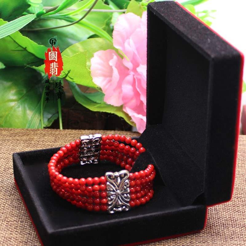Coral bracelet, multi row bracelet, retro national style, gifts and jewelry for girlfriend at Tibetan goddess Festival