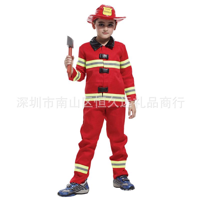 消防演出服角色服装万圣节幼扮演消防服职业套装表演服饰儿童