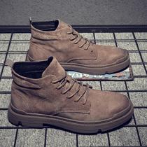 网红2020冬季新款真皮马丁靴男中帮战狼男鞋英伦风工装雪地短靴子