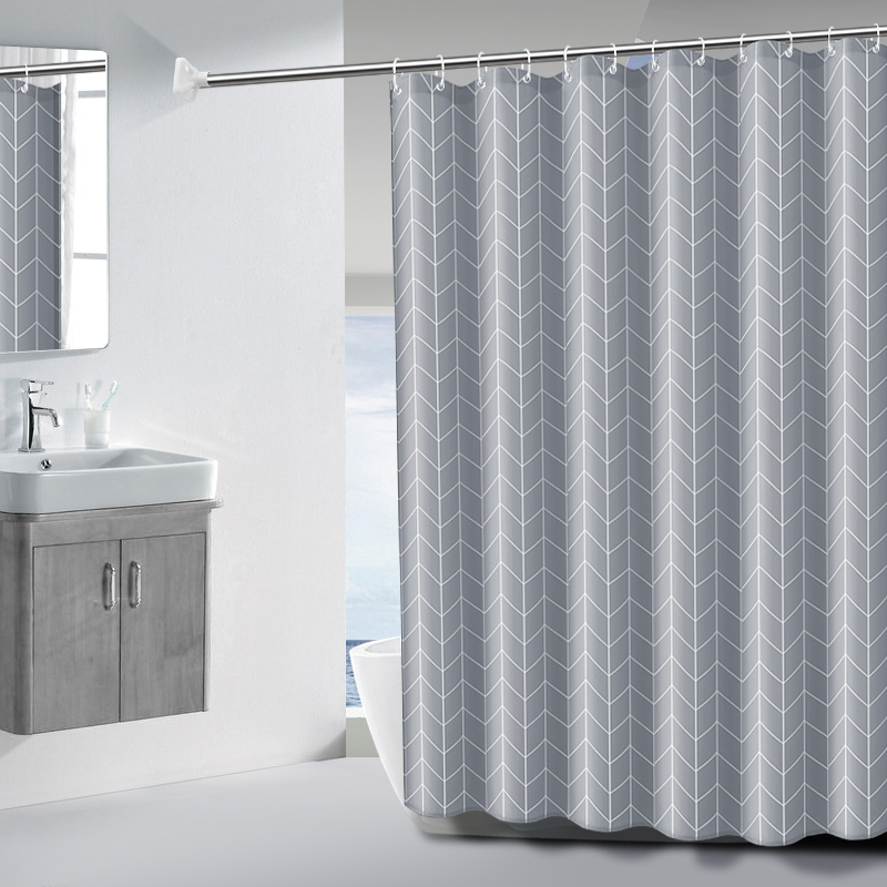 Bath curtain set non perforated toilet bath curtain cloth waterproof and mould proof thickened bathroom partition curtain bath curtain rod set