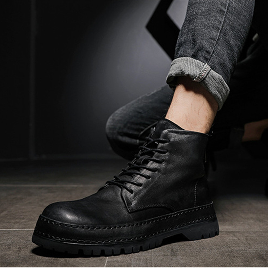 European station mens Boots Mens shoes fashion mens shoes zipper leather locomotive leather boots medium high top heavy bottom tooling boots