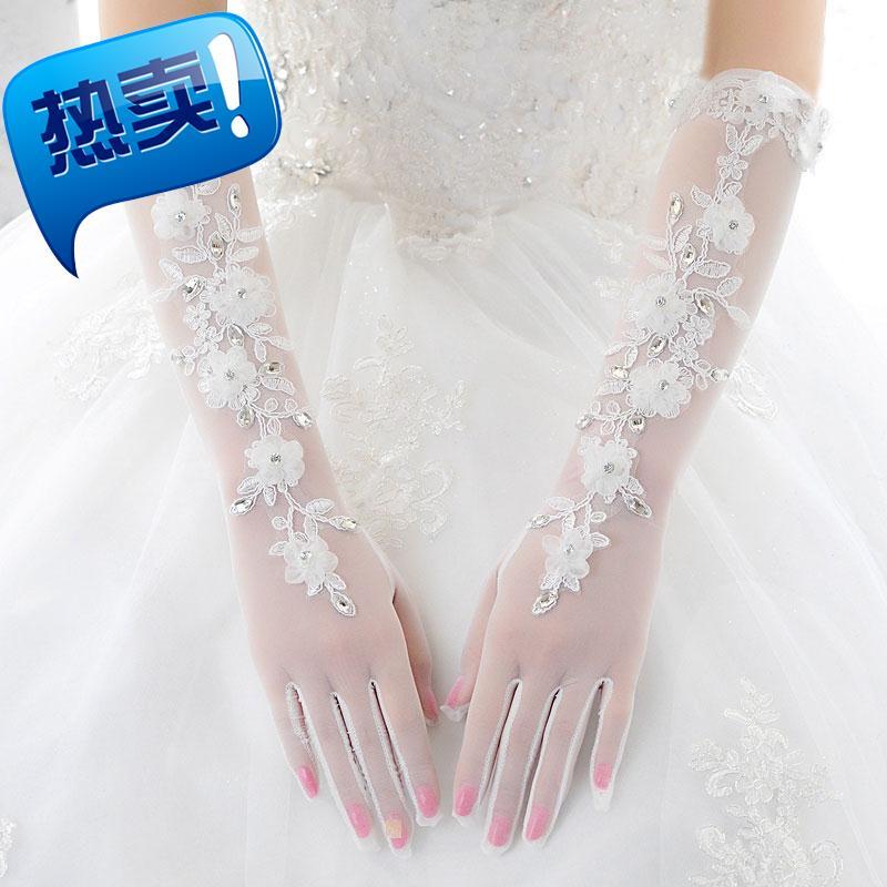 2019 Wedding Gloves satin with elbow Wedding Gloves knot