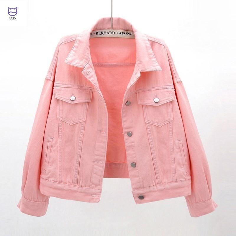 2020年新春百合長袖デニムコート女性ショート丈韓国版BFジャケット学生服ピンク