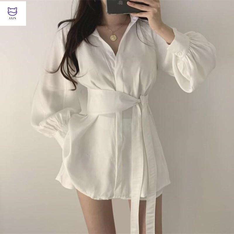 Fairy two piece set 2019 new Korean style show thin and fashionable style close waist shirt with Shorts Set female