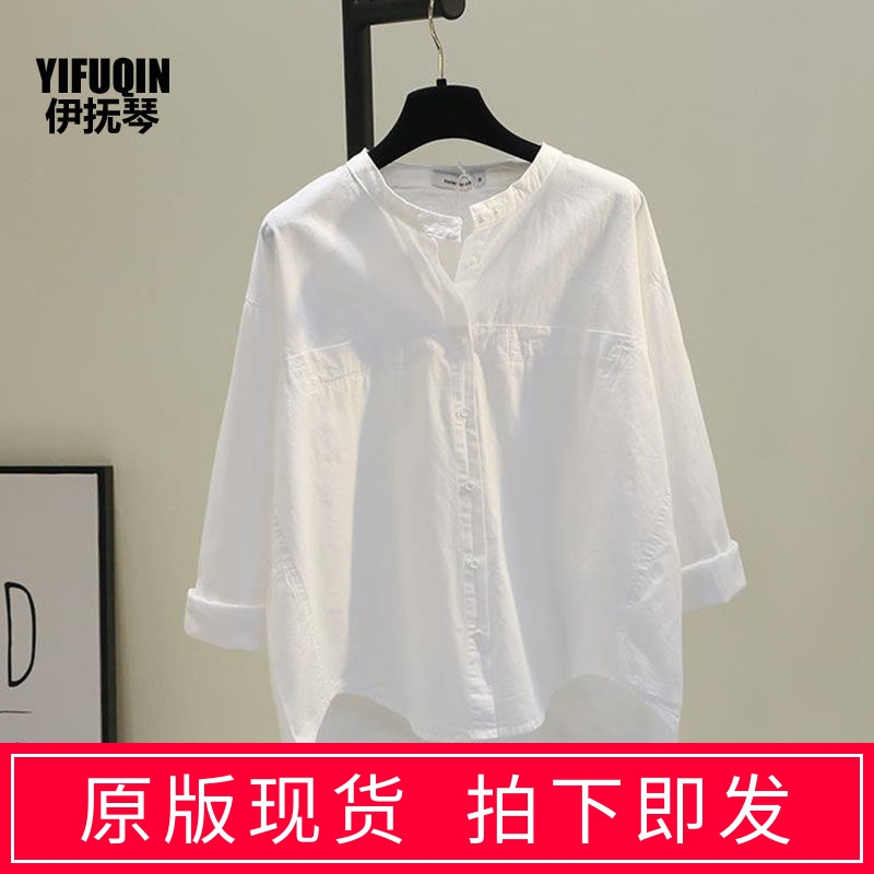 Round neck white shirt women 2020 spring and autumn new Hanfan art small fresh shirt versatile casual top cardigan