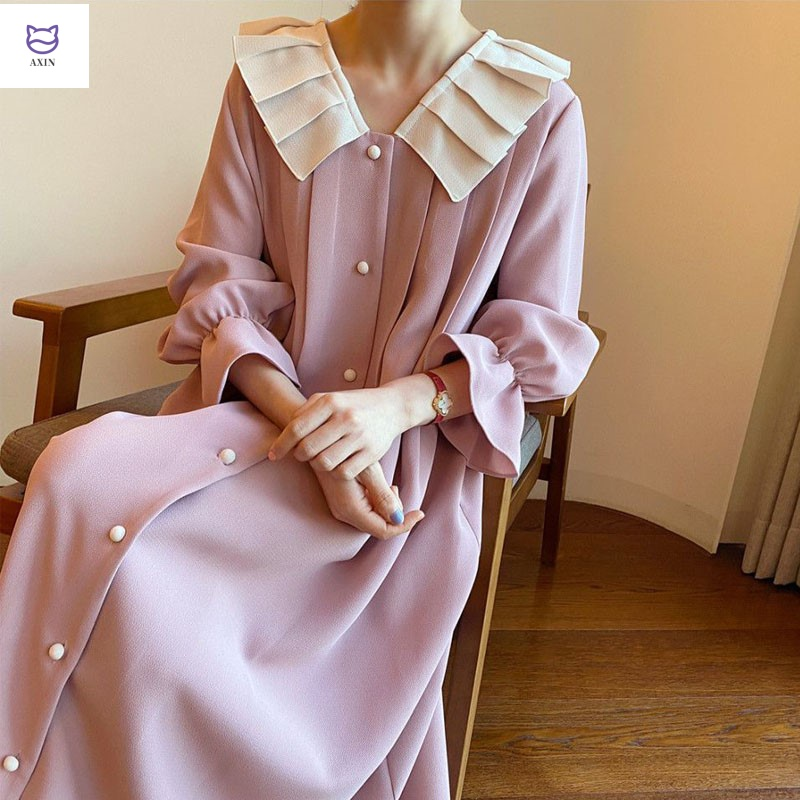 Spring and summer new temperament flared sleeve dress womens Korean version of loose and slim long over the knee lady pleated collar long skirt
