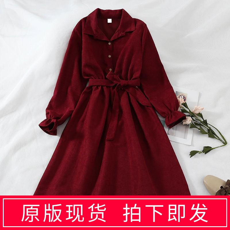 Winter new 2020 Korean French loose mid length dress women autumn winter foreign style long sleeve temperament skirt fashion