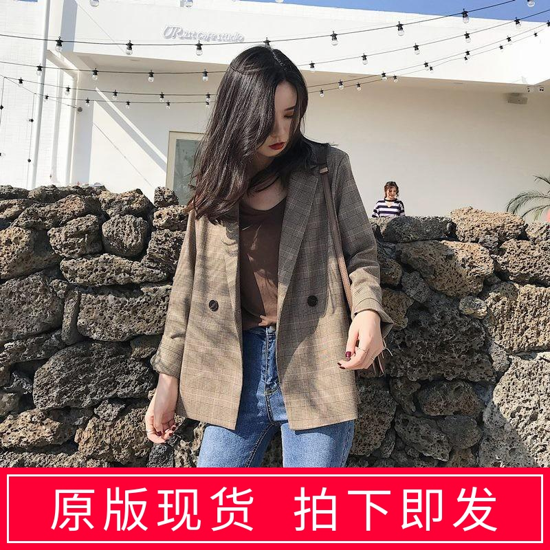 Spring little brown plaid suit coat womens thin drape Vintage Hong Kong style small suit British style top