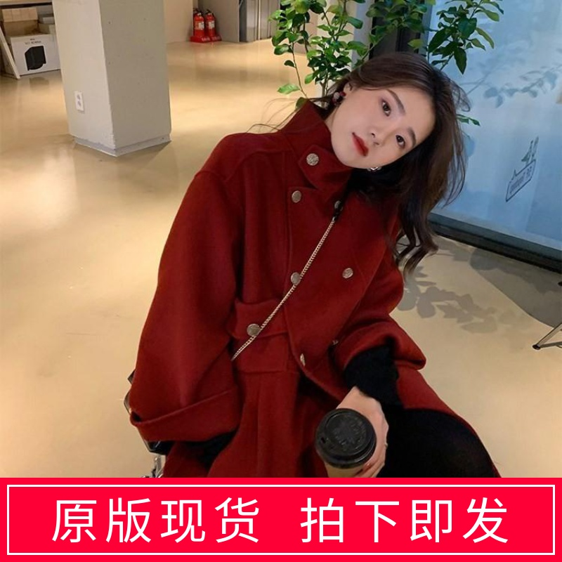 2019 popular winter Sen Department Hepburn wind and Sun Department medium long double face woolen coat coat coat for women thickened small man