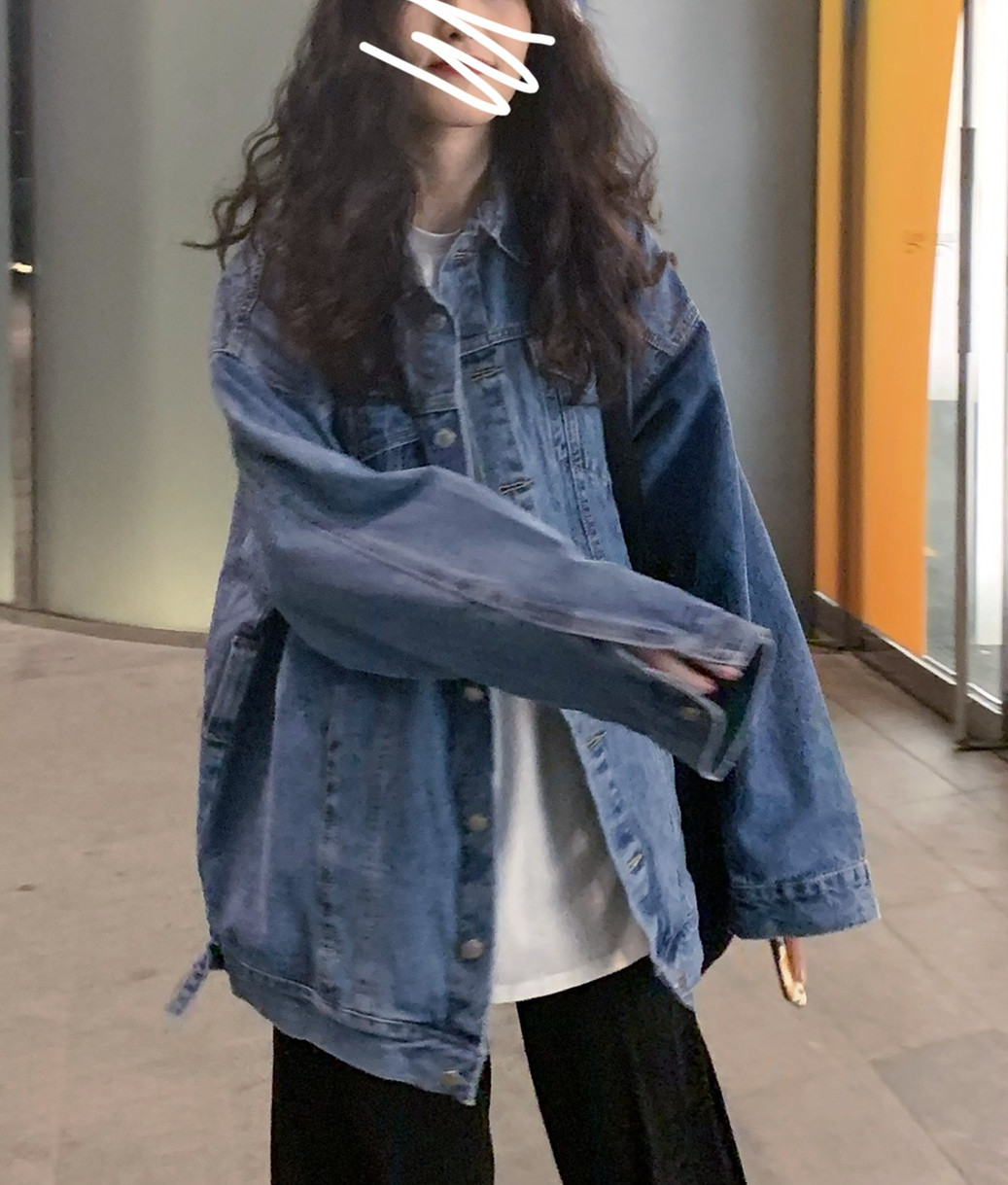 Spring and autumn Korean version 2020 new BF style loose medium and long style tooling net red long sleeve denim coat womens ins trend