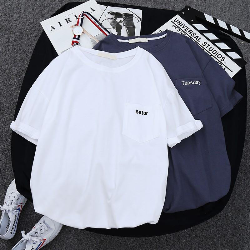 Summer short sleeve mens T-shirt Korean Trend T-shirt simple white half sleeve loose pocket embroidered upper garment