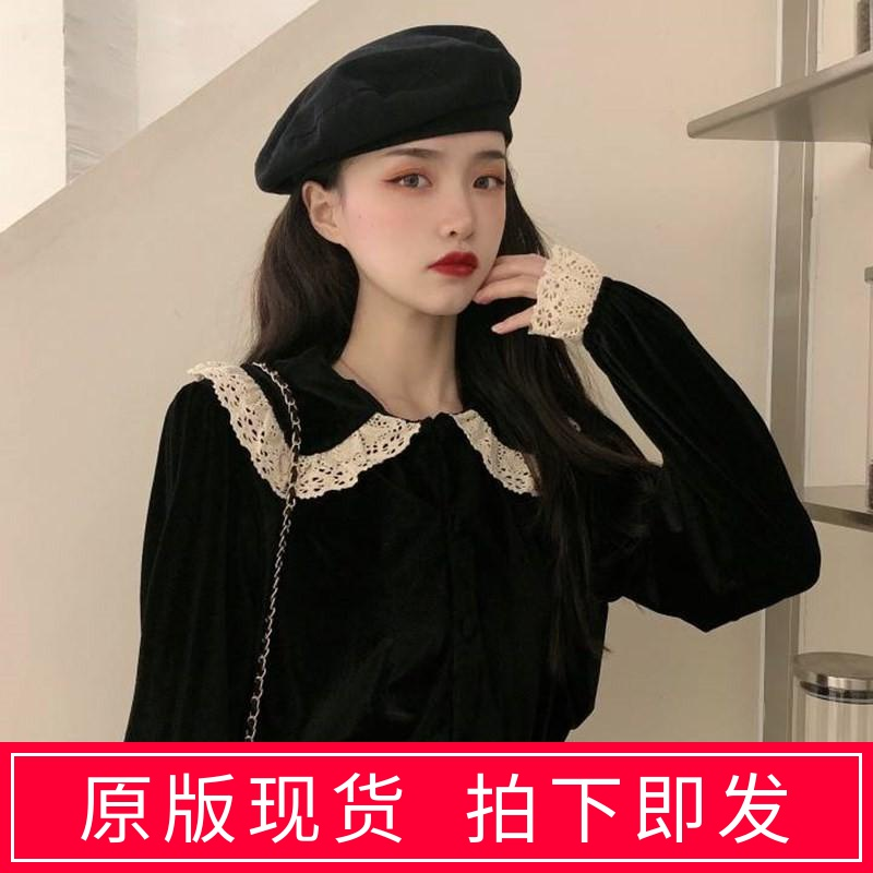 Autumn and winter 2019 new Korean version design sense minority lace splicing baby collar long sleeve fashion dress shirt female trend