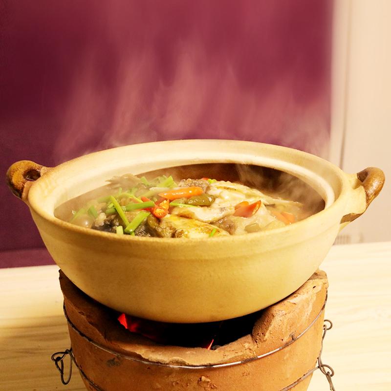 传统老式土砂锅打边炉火锅砂锅炖锅大容量沙锅粗陶土钵子餐具商用