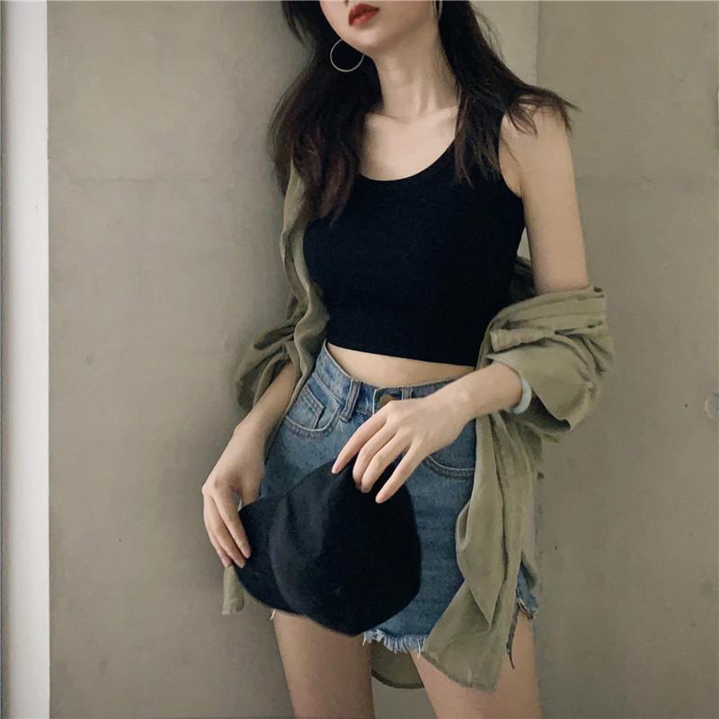 纯棉背心女夏内搭短款露脐大码小吊带工字打底无袖上衣外穿ins潮