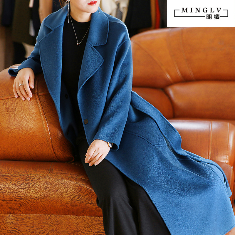 High-end water ripple double-sided cashmere coat women's mid-length style 2020 new loose big-name popular woolen coat