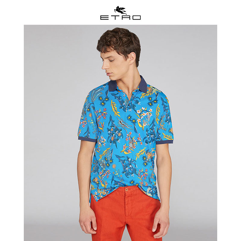 [Hui] Etro echo / new spring / summer 2020 / mens Italian printed polo shirt