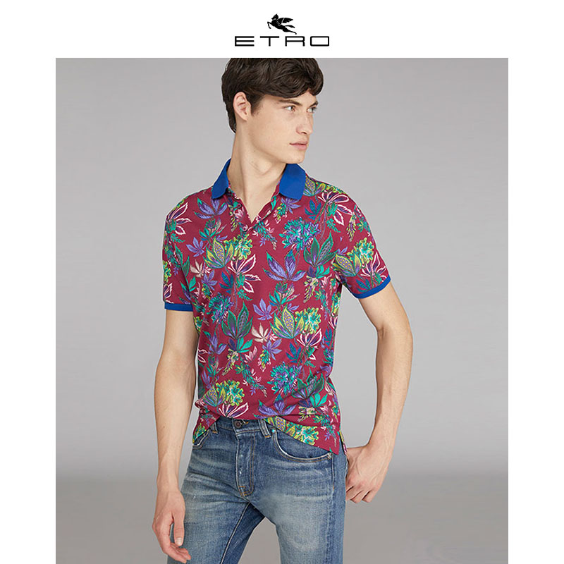 [Hui] Etro echo / new spring / summer 2020 / mens wear / mens red and purple flower polo shirt