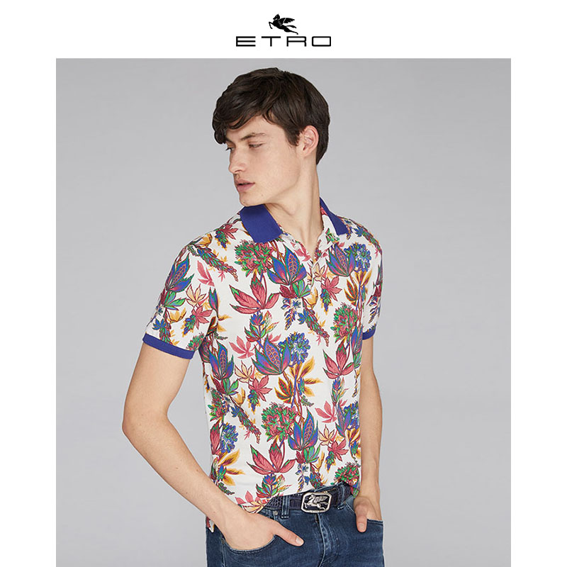 [Hui] Etro echo / new spring / summer 2020 / mens wear / mens white flower polo shirt