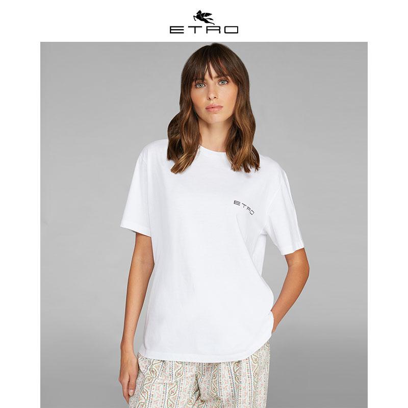 [惠]ETRO艾绰/2020春夏新款/女式后背印花短袖全棉基本款T恤