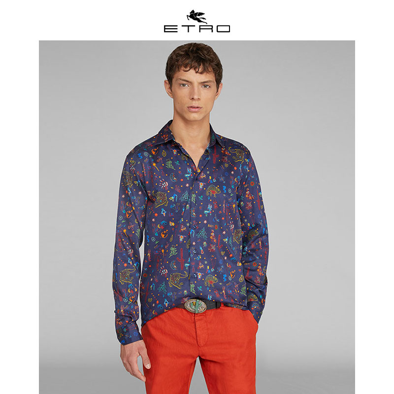 [Hui] Etro echo / new spring / summer 2020 / mens polo shirt with Mexico print