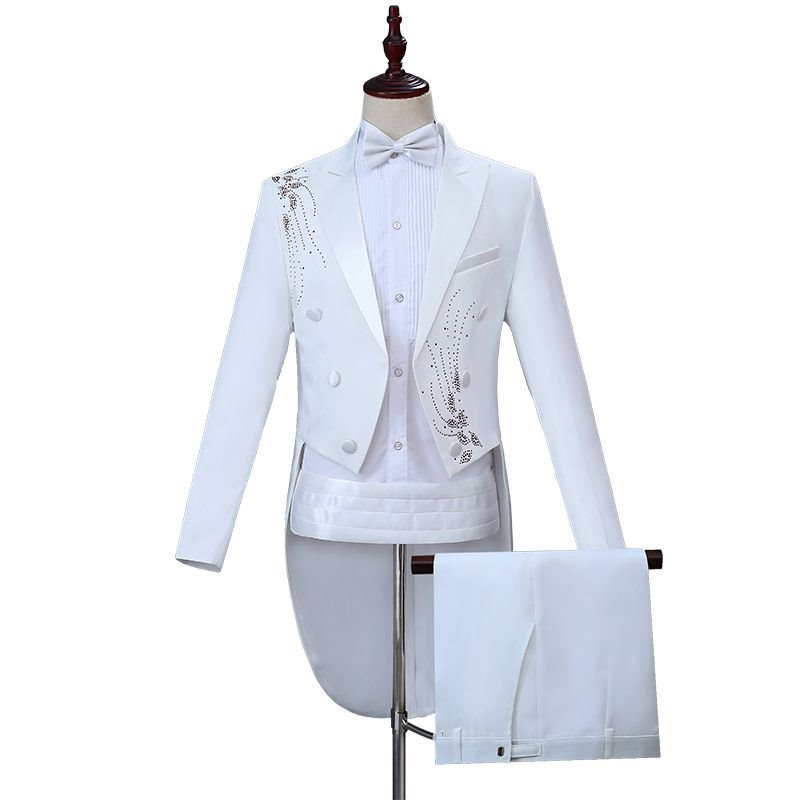 High end suit suit new swallow tail white embroidery magic show / evening host / Piano Performance