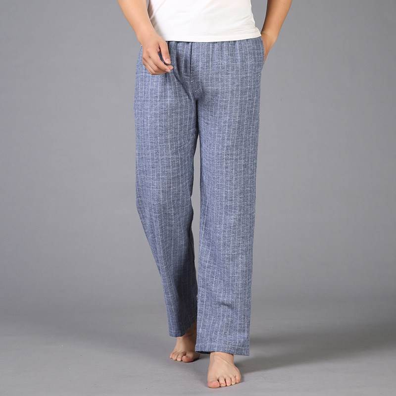 Cotton pajamas mens autumn and winter cotton trousers home loose mens Plaid spring and autumn large casual home pants