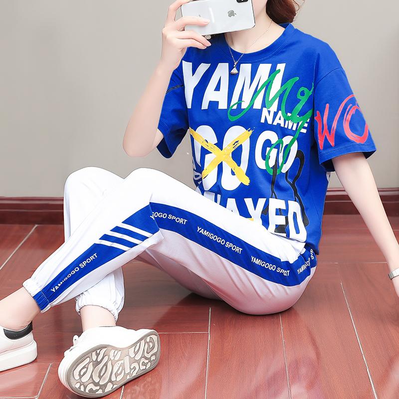 自信龙高品质纯棉潮女装2020夏季新款时尚短袖休闲套装韩版两件套