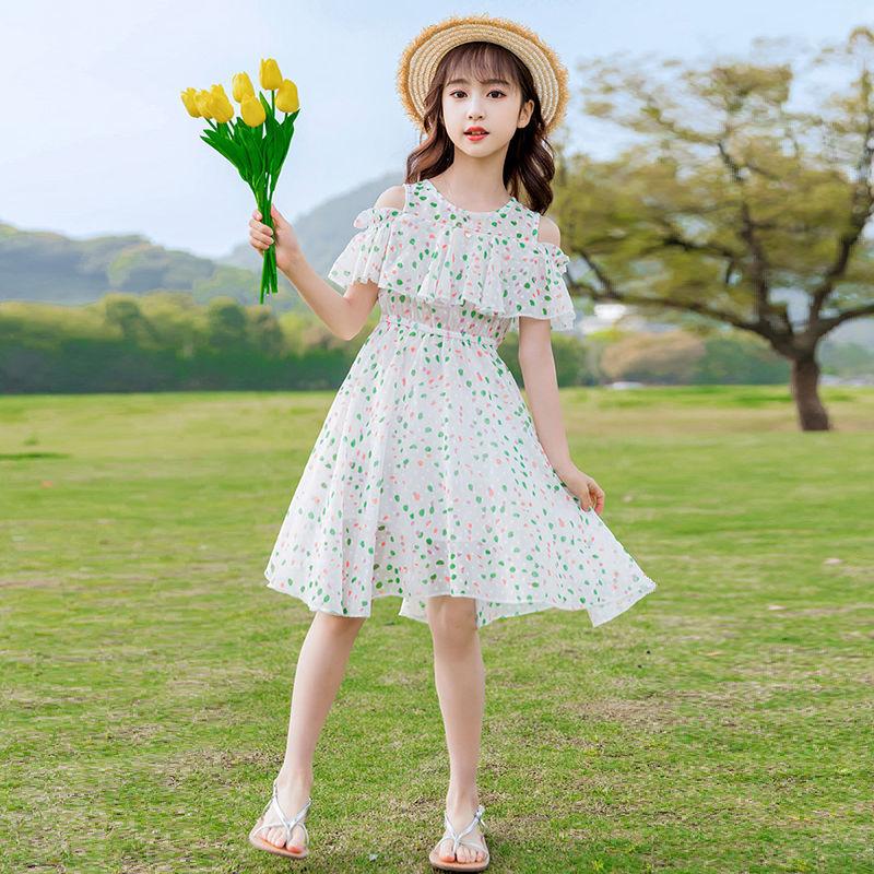 中國代購|中國批發-ibuy99|雪纺裙|女童洋气连衣裙夏装2021新款儿童夏季雪纺公主裙中大童网红裙子潮