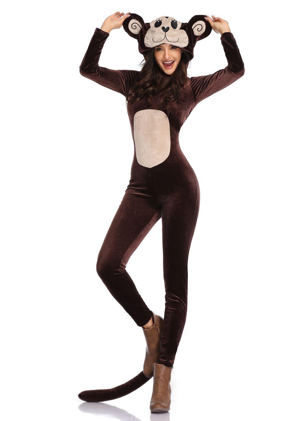 ハロウィンの服装の成人の連体のしゃれたサルの動物の役は服装のおじけづく服装に扮して尾のスーツをくわえます