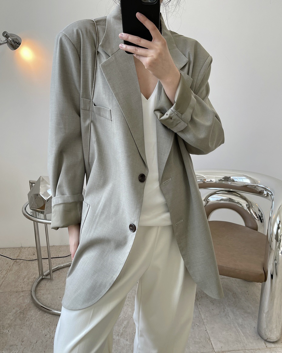 Xiaowan spring fashion blogger wide shoulder LAPEL SUIT loose and thin casual jacket