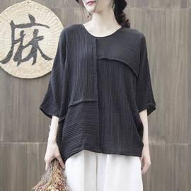 大码女装夏季胖mm纯色棉麻文艺蝙蝠袖T恤衫七分袖宽松遮肚子上衣