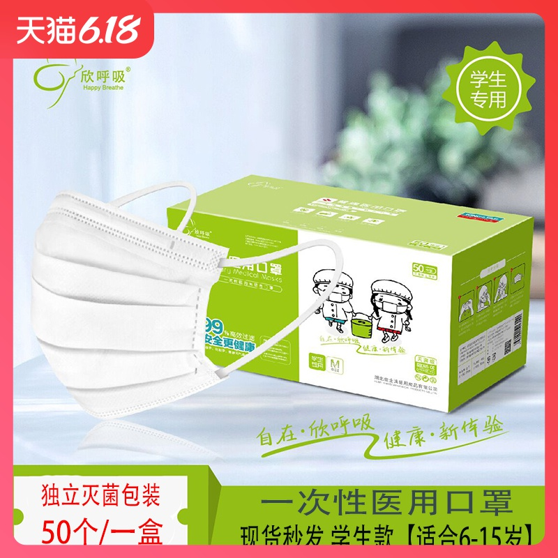 Children's medical masks disposable non-woven breathable protective children's independent packaging sterilization 50 student masks