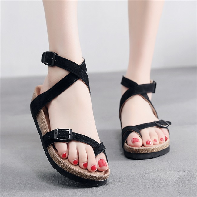 Cork sandals womens summer fashion wear new high bandage Roman sandals womens finger angle slippers beach shoes