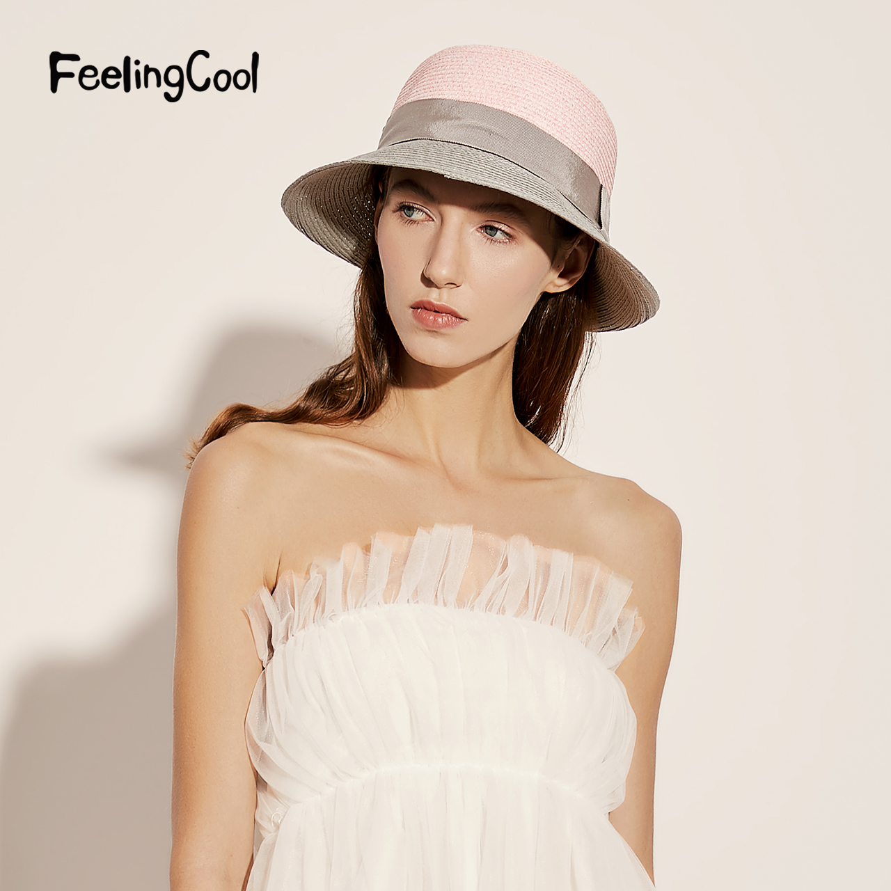 飞兰蔻渔夫草帽防晒帽子女太阳帽出游百搭夏季优雅可折叠遮阳帽女