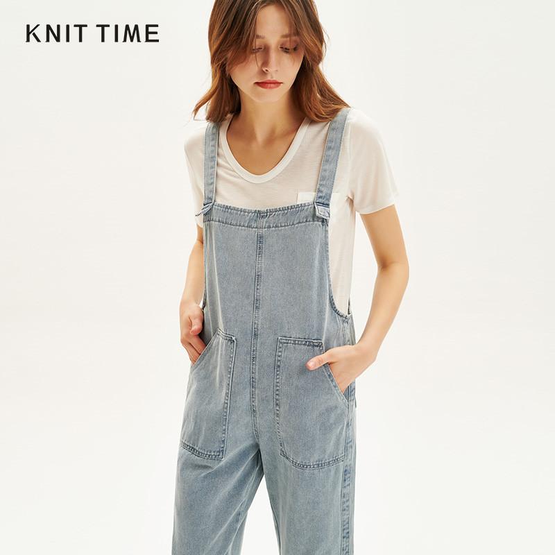 KNIT TIME/全织时代牛仔背带裤大口袋百搭直筒吊带裤九分裤女夏
