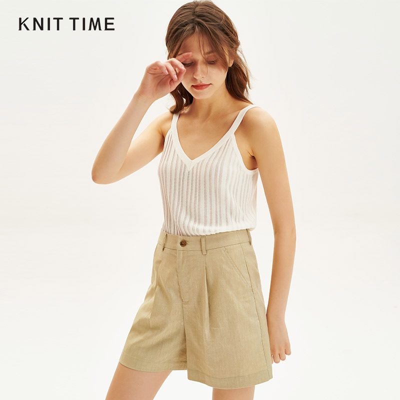 Knit time / all fabric era versatile strap top sexy knitted V-neck vest womens summer